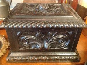 Wood Box, European, Rose Motif, Very Dark Brown, $525.